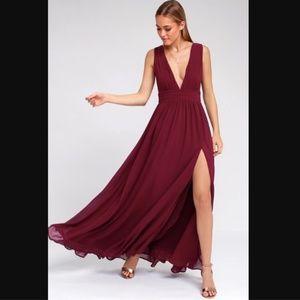 Lulu's Heavenly Hues Burgundy Maxi Dress Gown